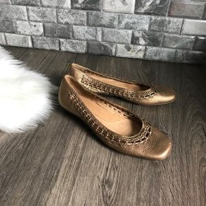 Sofft Gold leather braided ballet flats 11 wide